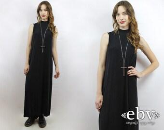 Minimalist Dress Normcore Dress Black Dress Simple Dress 90s Maxi Dress 90s Dress Vintage 90s Stretchy Black Maxi Dress S M L