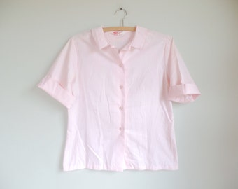 Vintage 1950s Blouse // Laura Mae Pink Button Up Top // 50s Cotton Shirt // 36 Small Medium