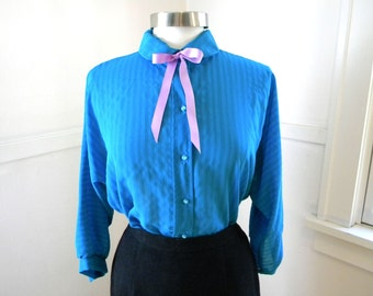 Sweet Blue 70s Secretary Blouse / Bow Blouse / Work Career Shirt / Peter Pan Collar Kawaii / Chiffon Blouse / Hipster Clothing MEDIUM