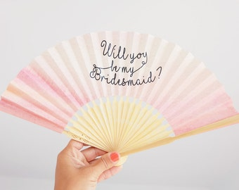Paper fan with message Will you be my bridesmaid in Japanese cloth pouch