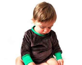 SAVE 10% - Jumper baby toddler brown green velour sweater top jumper unisex babies comfy fashion kids design original handmade nordic style