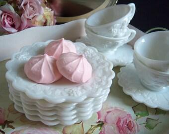 Westmoreland Milk Glass Plates - Westmoreland Paneled Grape Milk Glass Plates - Milk Glass Plates - Wedding Milk Glass - Vintage Wedding
