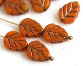 Leaf beads - dark Yellow Ocher beads, Old patina, orange Czech glass pressed leaves - 11x8mm - 10Pc - 2490