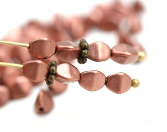 50pc Copper Pinch and Round beads, Matte Copper 5mm czech glass beads, 5x3mm, pressed triangle spacer beads - 0410