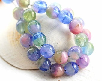 Blue beads mix, czech glass beads, round spacers, pink blue green, druk - 5mm - 40pc - 2660