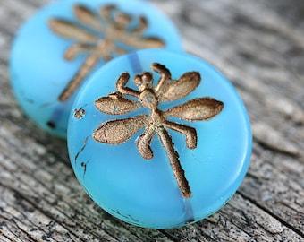 Czech Dragonfly beads - Old Patina, Opal Aqua blue - czech glass, large, round, tablet shape, rustic - 23mm - 2Pc - 2689