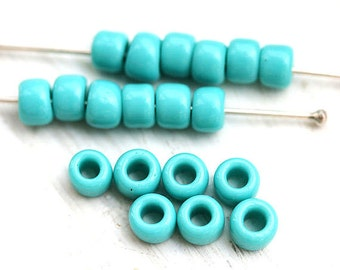 50pc Large seed beads, Toho size 3/0, Opaque Turquoise, N 55, 2mm hole, rocailles, kumihimo glass beads - S113