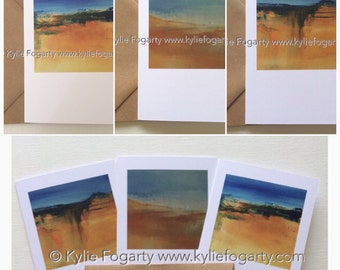 Greeting Card Set, three Cards, Fine Art Greeting Card, Beach, Contemporary Landscape, Seascape, Kylie Fogarty, Blank Greeting Card