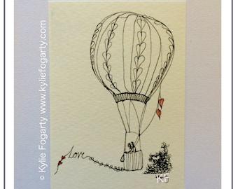 Love Art ACEO - Miniature Art Print - Contemporary Art Print - Valentines - Engagement - Wedding - Anniversary - Couple in Hot Air Balloon