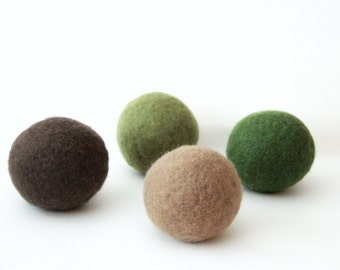 Wool dryer balls set of 4, camo. Handmade of 100% wool. Replaces fabric softener and dryer sheets for natural laundry care. Made in CT.