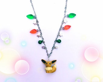 Kawaii Eevee Pokemon Necklace with Christmas Theme - Pokemon Jewelry - Anime Jewelry