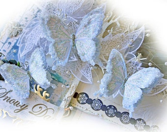 Reneabouquets Butterfly Set -  Icicles Glitter Glass Butterflies Scrapbook Embellishment, Wedding, Decoration, Home Decor