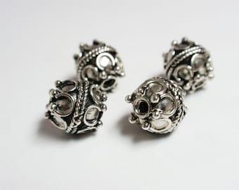 Bali Sterling Silver Decorative Round Bead, 925 Sterling Silver Bead, Decorative Beads - 4 pcs