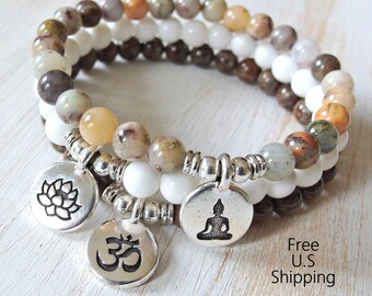 Yoga stack, Yoga bracelets, Moss agate, Jade, Jasper, bracelet set, Reiki Charged, stacking malas, yoga stack, buddha, om, Lotus bracelet