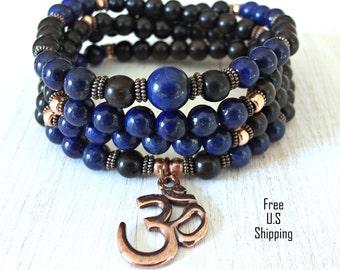 Protection, 108 Mala, Lapis Lazuli, Om Mala,  wrap Bracelet or Necklace, Buddhist Rosary, Om Yoga, Yoga wrap,  prayer beads, Reiki Charged