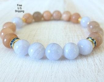 Blue Lace agate,Moonstone, healing bracelet, Yoga Bracelet, intention, Meditation bracelet, Reiki, mala, mala beads, Gemsone bracelet