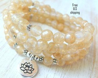 Quartz Mala, 108 beads, Mala Bracelet or Necklace, Reiki, Buddhist Rosary,Prayer beads, Gemstone, wrist mala, Lotus, buddha, ohm, om