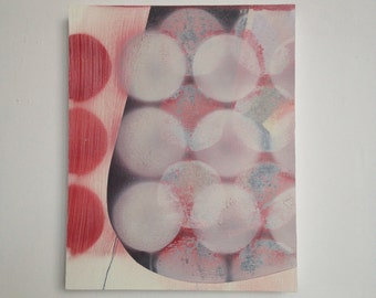 Abstract Painting, Original, Oil on Canvas on Wood, Layered Spheres, Red, Grey, Pink, Black, Minimalist, Planets