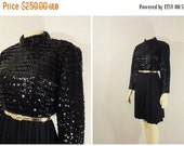 CLOTHING SALE Vintage Dress 60s Mad Men Party Dress Saks Fifth Avenue Sequins Swing Skirt Modern Small to Medium