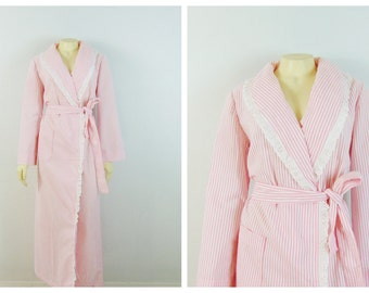Vintage Robe Pink & White Striped Dressing Gown Robe House  Robe Lightweight Spring Summer Robe Modern Size medium to Large