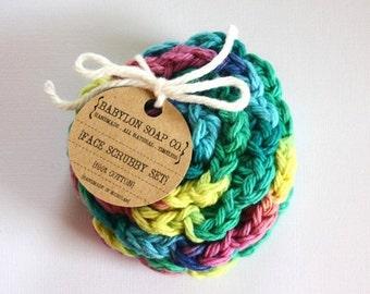 SHOP CLOSING SALE Flower Face Scrubby Set . Set of 3 . Crochet . 100 Percent Cotton . Blue, Yellow, Pink & Green