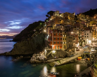 Riomaggiore During Blue Hour - Cinque Terre Photography - Italy Photography