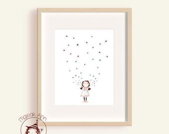 Starlight - Girl and Stars - Nursery Decor - Fine Art print -Kids room decor - adorable magical baby girl illustration