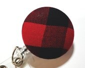 Red and Black Buffalo Plaid Name Badge Reel Retractable Badge Reel Retractable lD ID Badge Holder Name Badge Clip Badge Pull name tag holder
