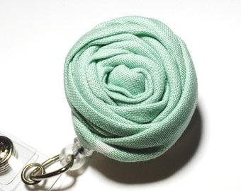 Mint Rosette Nurse Badge Reel fabric flower badge holder Rosette Name Badge Reel Retractable badge holder swivel alligator clip badge reel
