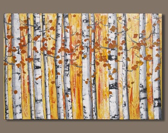 FREE SHIP large abstract painting, birch trees forest, yellow orange, birch tree painting, landscape painting, wall art on canvas, 24x36