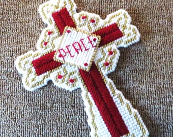 Needlepoint wall peace cross