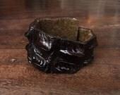 Alligator Cuff Bracelet // crocodile skin  // dark brown // leather // gothic // punk  // natural // rare