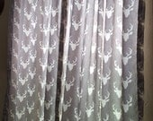 Navy Buck, Mint Buck, Gray Buck, or White with Silver Gray Buck  Curtain Panels or Valance