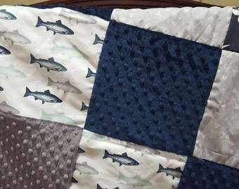 Hunting and Fishing Patchwork Blanket- Trout Fish, Navy Buck, Gray Weathervanes, Navy Minky, and Gray Minky Baby Blanket