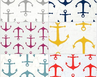 Crib Skirt - Anchor Straight Crib Skirt - Gray, Yellow, Light Blue, Coral, Pink, Navy