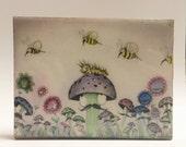 Original art, Mushroom Art, kitchen art ,  Birthday Gift, watercolor art, ink, Bees, Gift for sister, Resin Art, Home Wall Art,