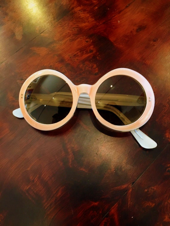 Vintage 1960s Lucite Peach Sunglasses Small Size Excellent Condition Made in France