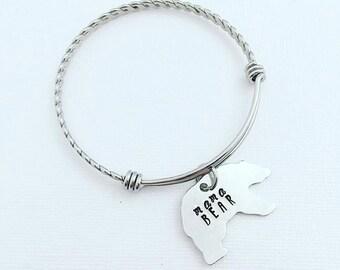 Mama Bear Bracelet - Hand Stamped Jewelry - Stainless Steel Adjustable Bangle Bracelet - Personalized Bracelet - Bear Jewelry - Mothers Day