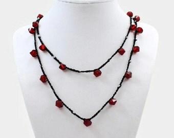 Sparkling Strawberry Wrap Bracelet / Necklace / Anklet - Ready to Ship