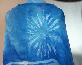Nuno Felted Wrap in the Colors of Snow Flakes on Water