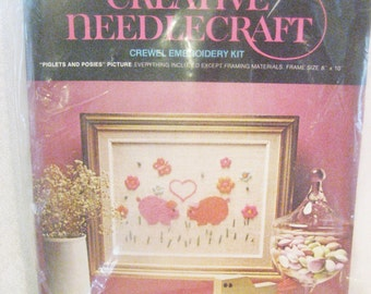 """Avon Crewel Embroidery """"Piglet and Posies"""" Kit Vintage 1970s 8"""" by 10"""" Picture"""