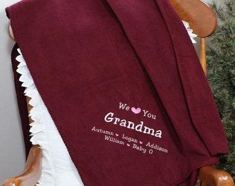 Embroidered We Love You Grandma Grandfather Mom Fleece Blanket Christmas Mother's Day Gift