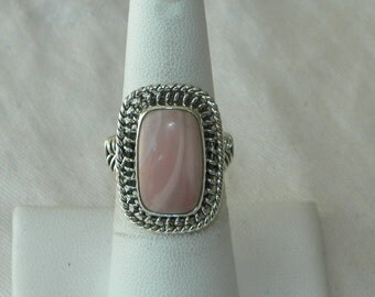 Pink Opal Ring Handmade Ring Peruvian Rare Pink Semiprecious Gemstone Ring Sterling Silver Ring Size 6 3/4 Take 20% Off Pink Opal Jewelry