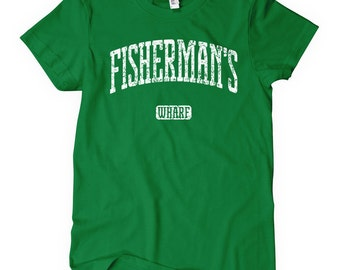 Women's Fisherman's Wharf T-shirt - S M L XL 2x - Ladies' California Tee, San Francisco, SF, Monterey, Bay Area - 4 Colors