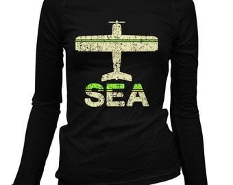 Women's Fly Seattle Long Sleeve Tee - SEA Airport - S M L XL 2x - Ladies' Seattle T-shirt, Sea Tac, Washington - 1 Color
