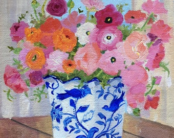 Oil Painting of Ranunculas in Blue and White Vase Linen Canvas on Board 10 inches x 8 inches