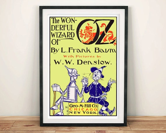 Book Cover Wall Art : Wizard of oz poster vintage book cover art print wall hanging