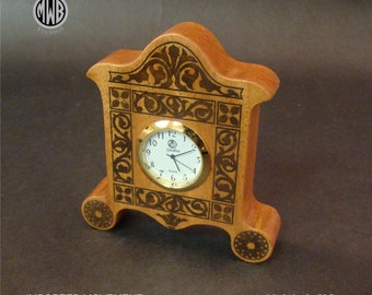 Inlaid Miniature Desk Clock of solid African Ribbon Mahogany. MDC-4.  Free shipping.