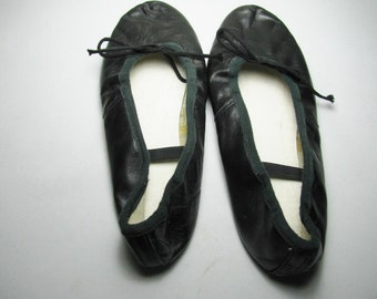 Black leather ballet shoes size 6 for a costume