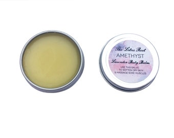 Small / Amethyst: Lavender Body Balm, Herbal Salve for hands and body - Small / 0.5 oz tin